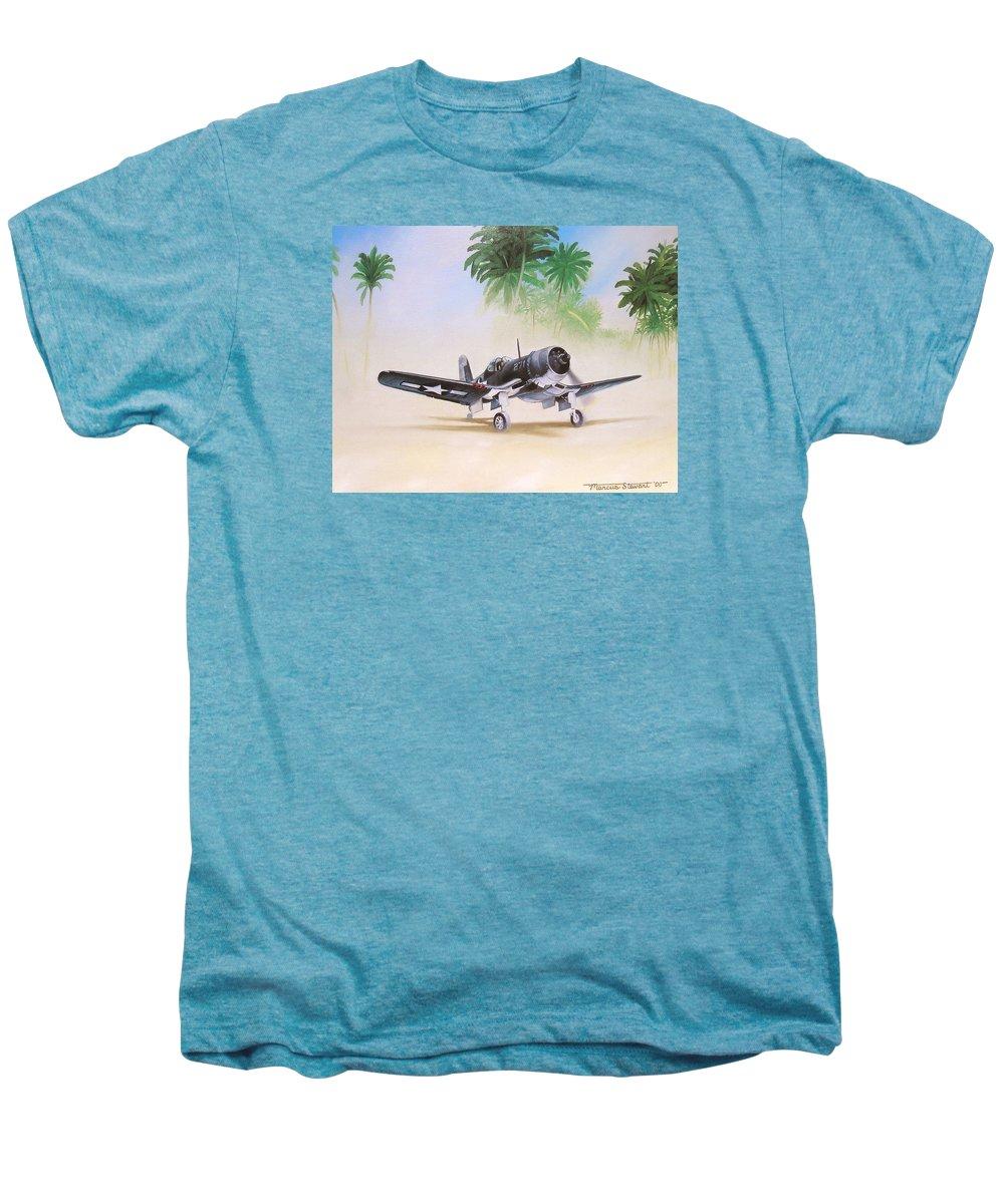 Aviation Men's Premium T-Shirt featuring the painting Corsair Preflight by Marc Stewart