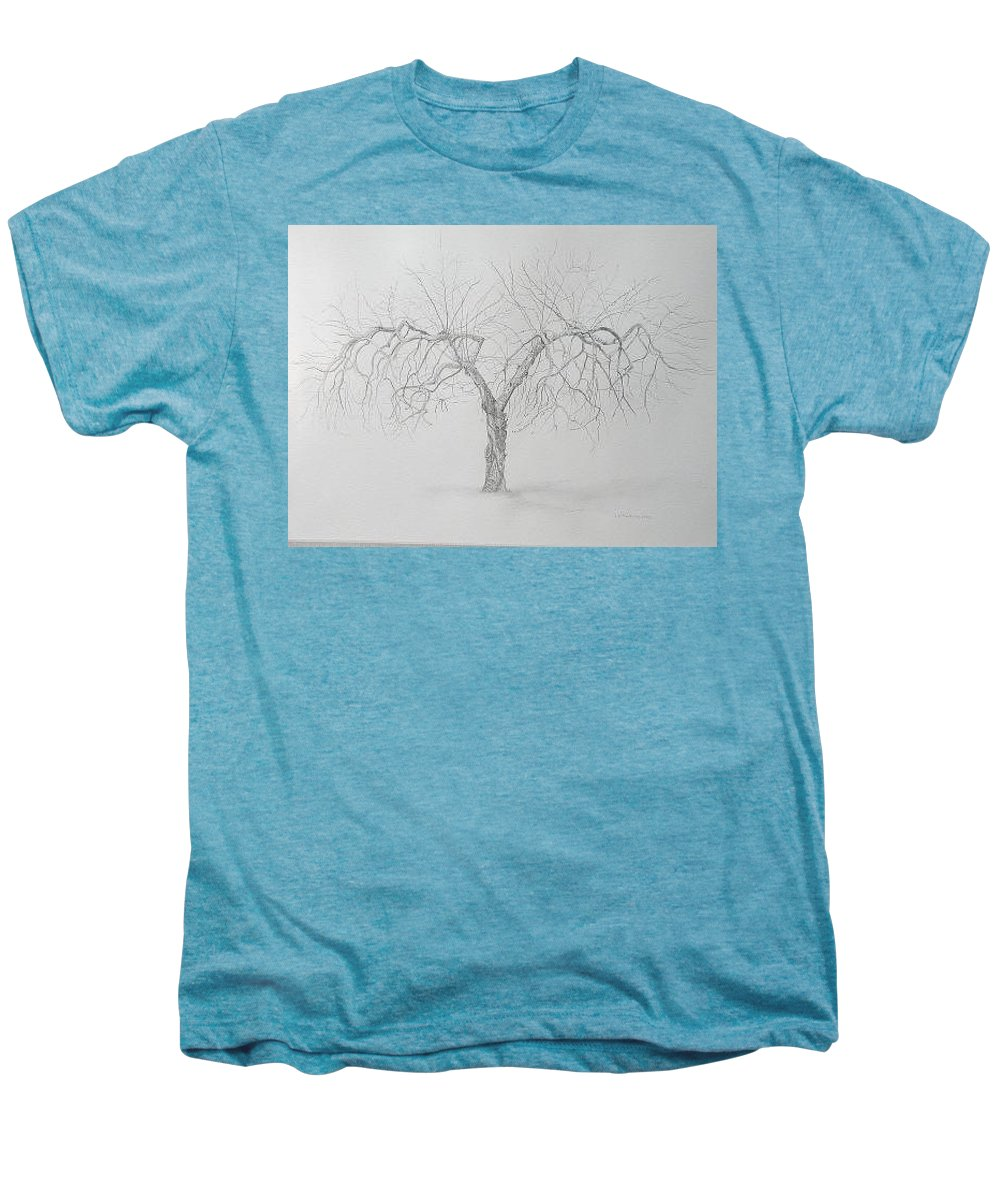 Cortland Apple Tree Men's Premium T-Shirt featuring the drawing Cortland Apple by Leah Tomaino