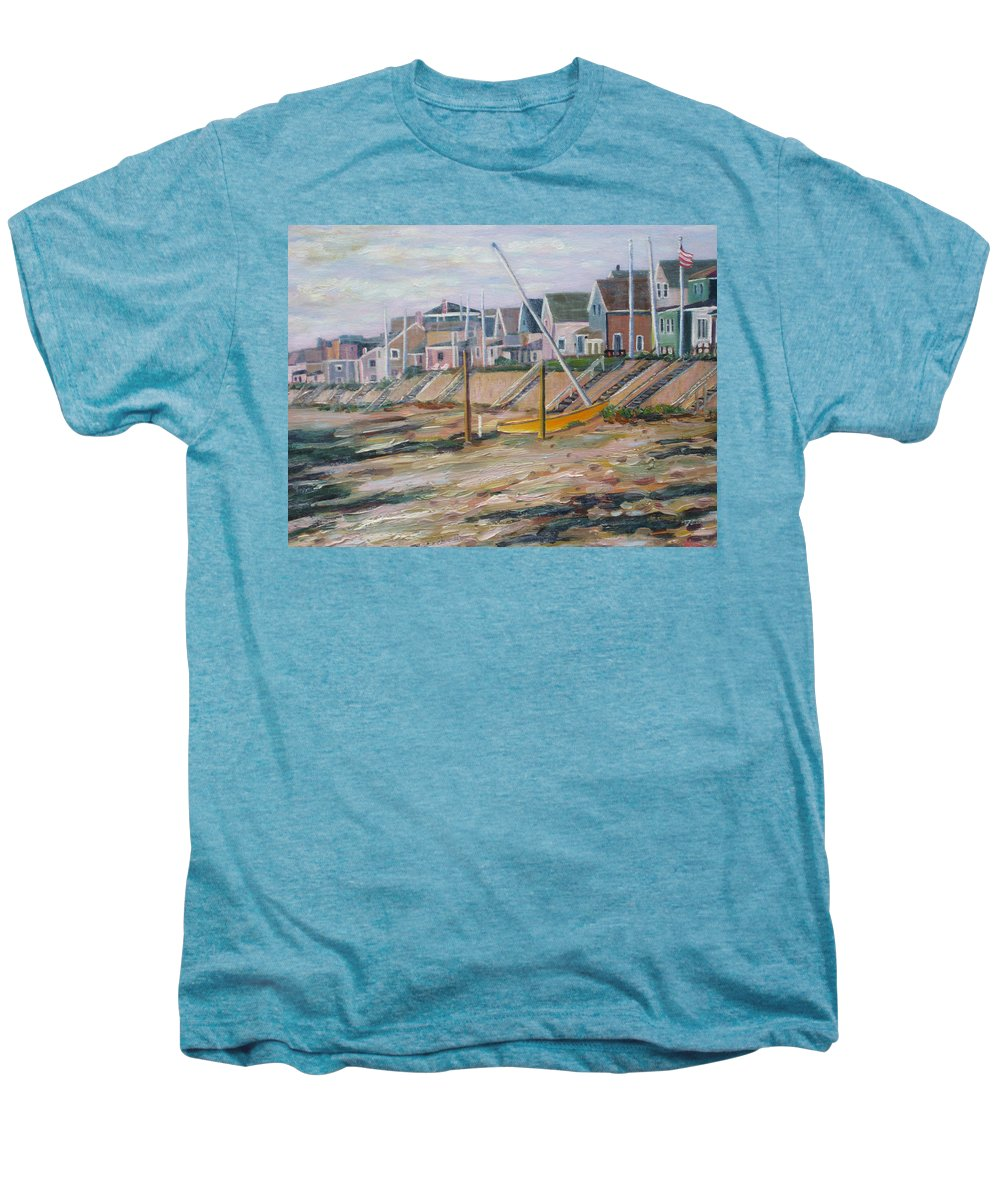 Beach Men's Premium T-Shirt featuring the painting Cottages Along Moody Beach by Richard Nowak