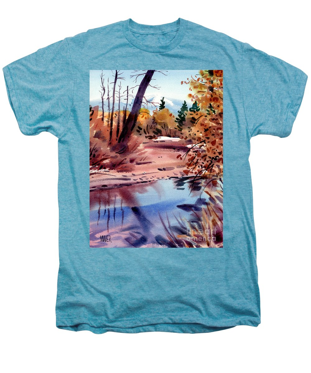 Cottonwood Trees Men's Premium T-Shirt featuring the painting Cottonwoods In October by Donald Maier
