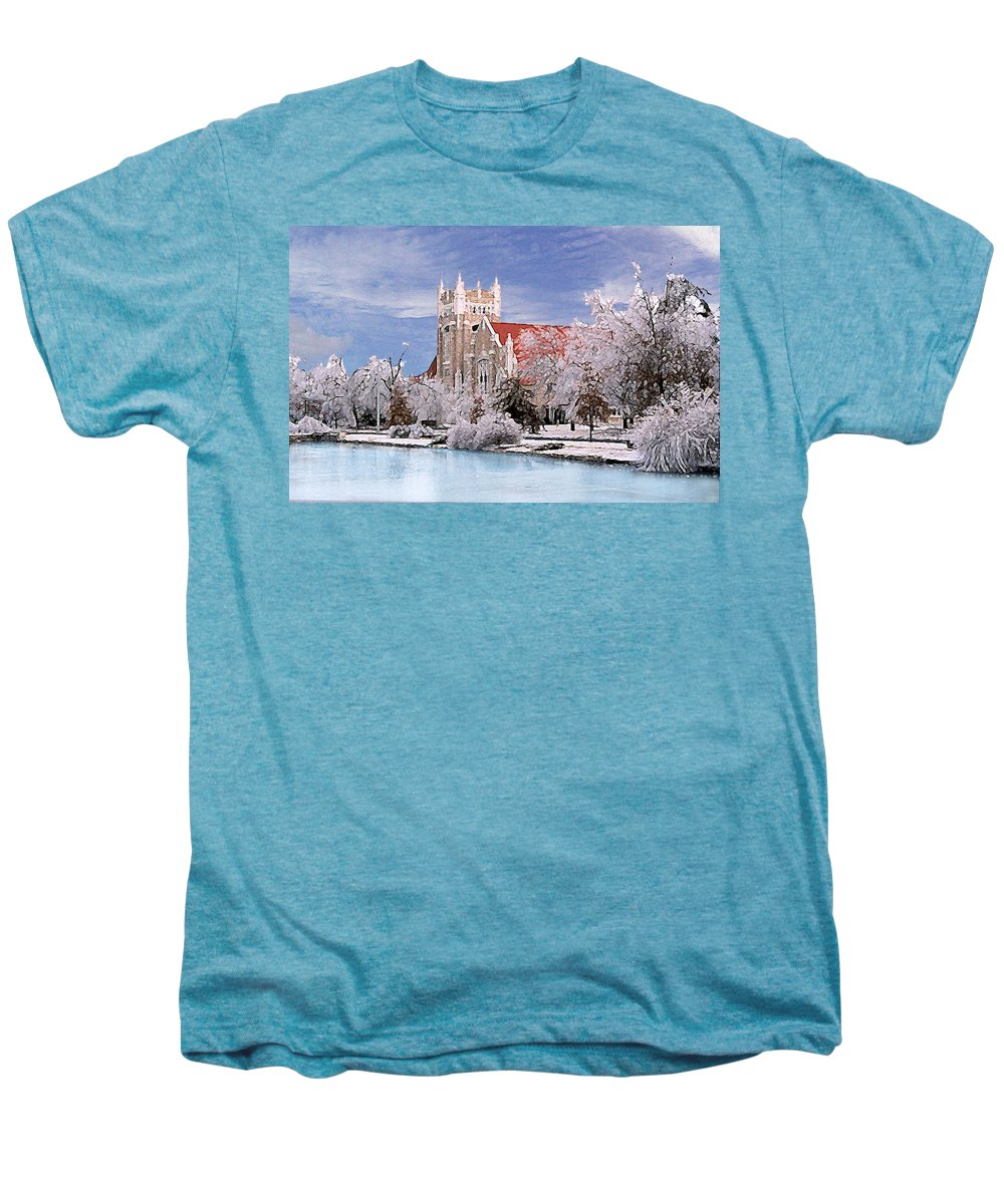 Winter Men's Premium T-Shirt featuring the photograph Country Club Christian Church by Steve Karol