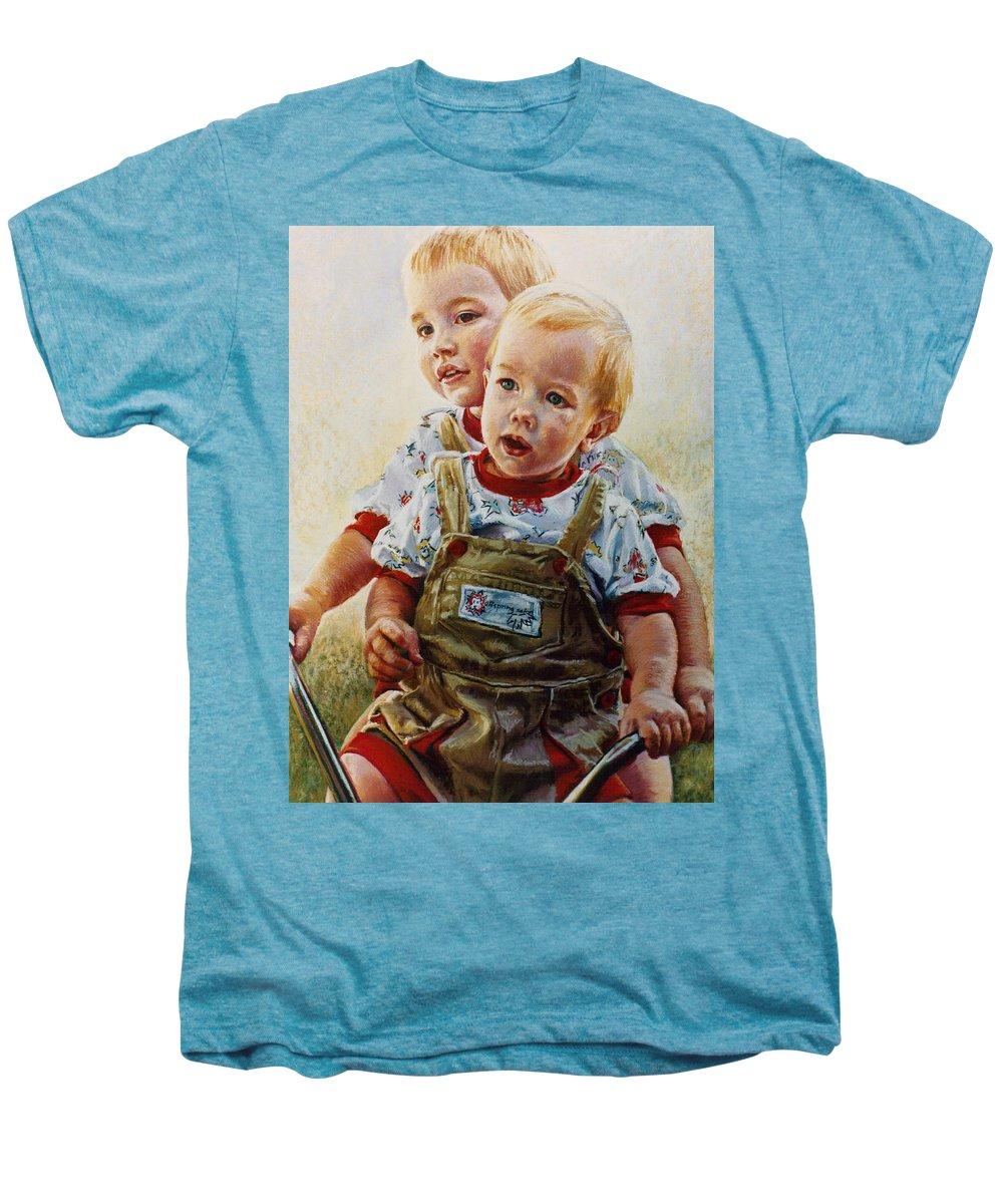 Pastel Portrait Men's Premium T-Shirt featuring the pastel Cousins by Jean Hildebrant