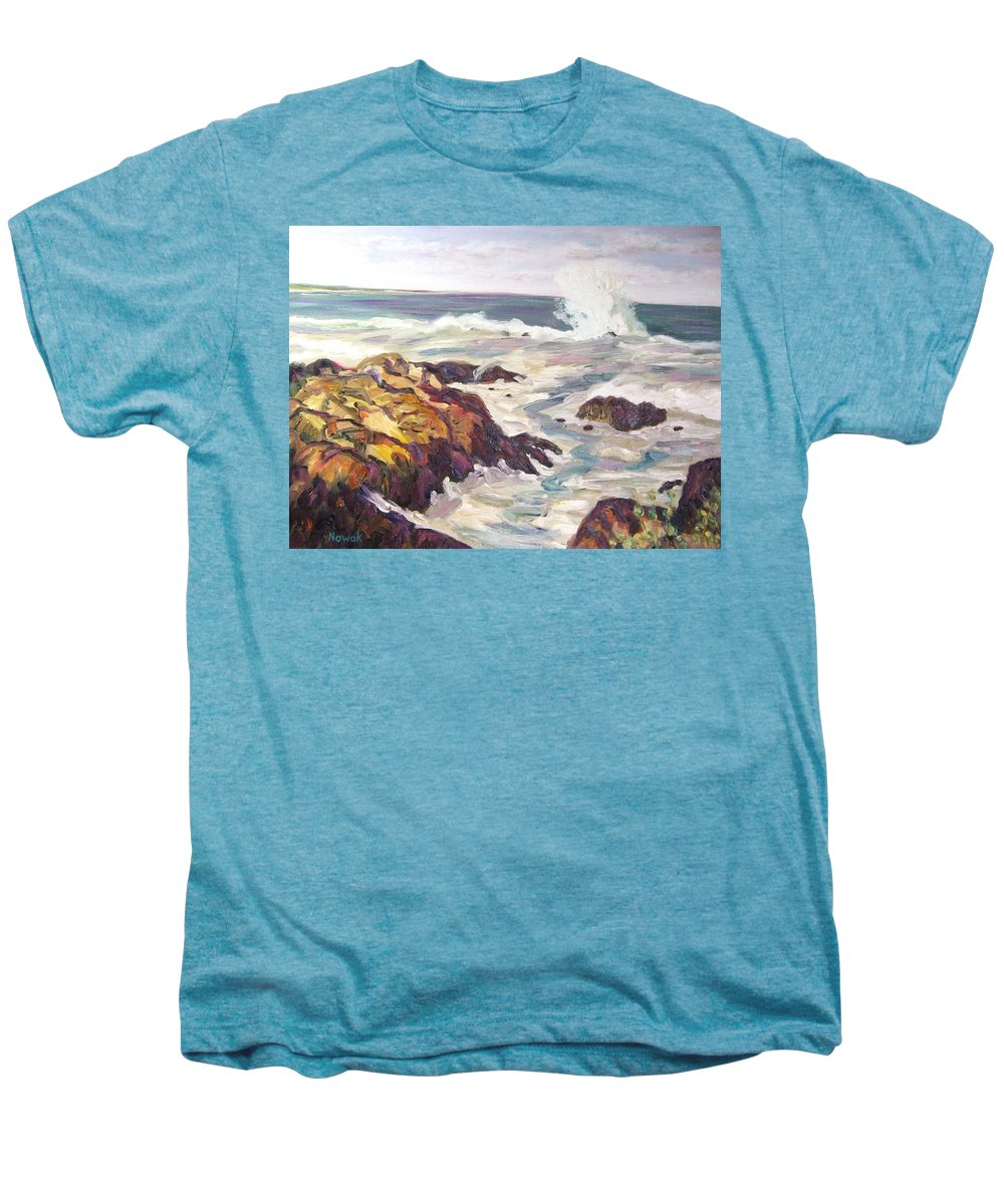 Water Men's Premium T-Shirt featuring the painting Crashing Wave On Maine Coast by Richard Nowak