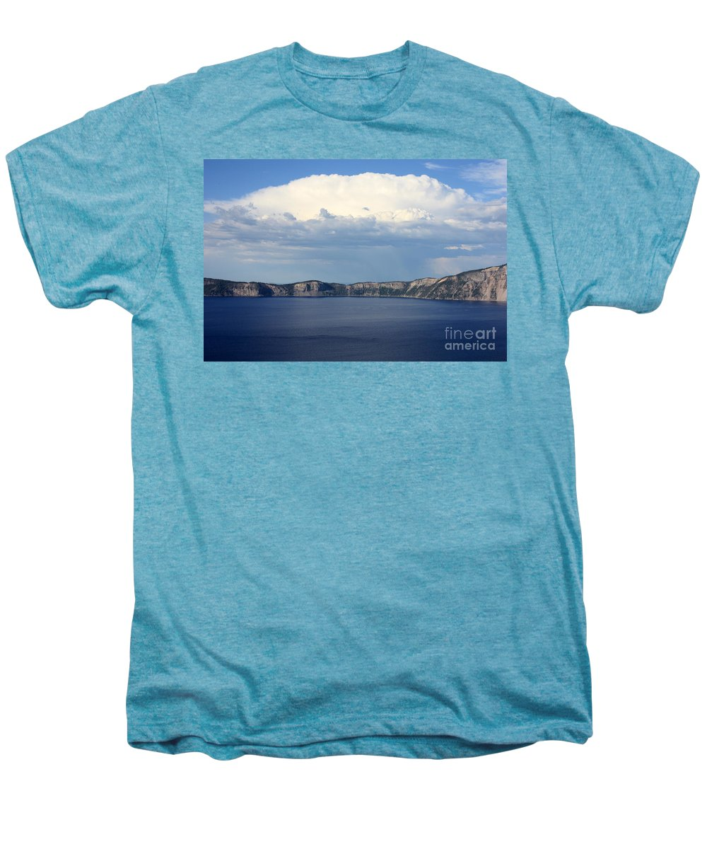 Clouds Men's Premium T-Shirt featuring the photograph Crater Lake by Carol Groenen