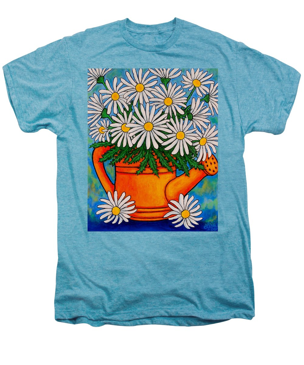 Daisies Men's Premium T-Shirt featuring the painting Crazy For Daisies by Lisa Lorenz