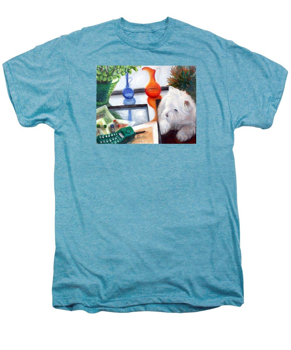 Dog Men's Premium T-Shirt featuring the painting Creative Reflections by Minaz Jantz