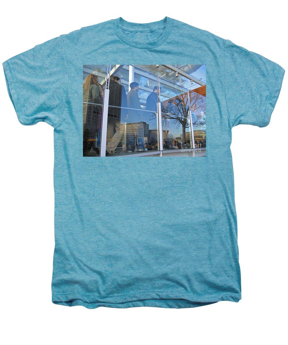London Men's Premium T-Shirt featuring the photograph Crowd Queuing Up by Ann Horn