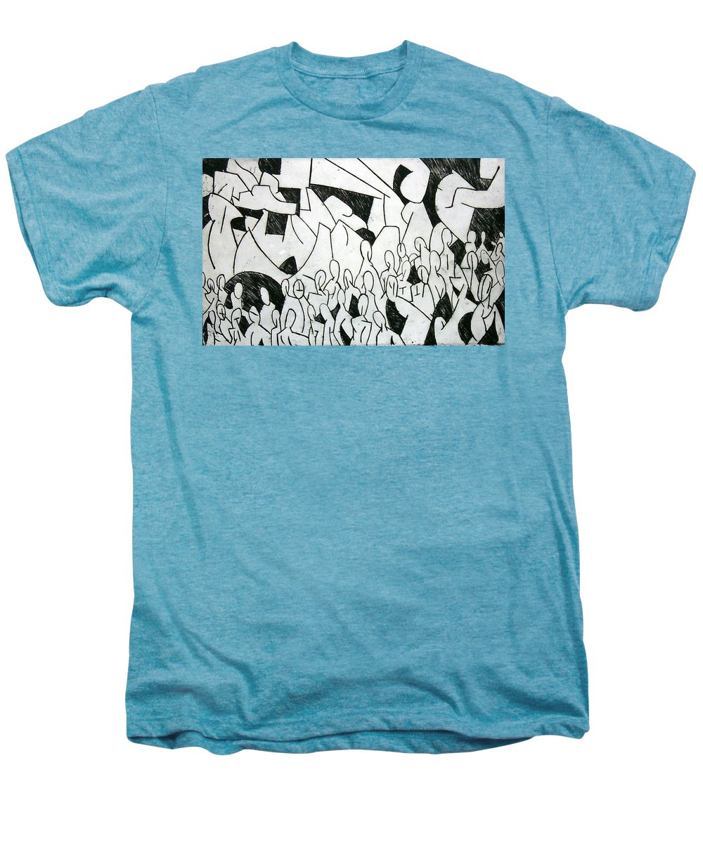 Etching Men's Premium T-Shirt featuring the print Crowd by Thomas Valentine