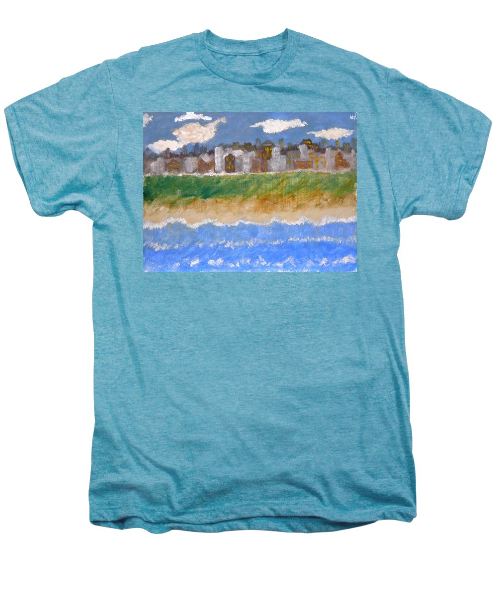 Seascape Men's Premium T-Shirt featuring the painting Crowded Beaches by R B