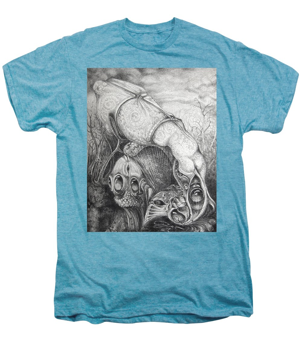 Surrealism Men's Premium T-Shirt featuring the drawing Ctulhu Seedpods by Otto Rapp