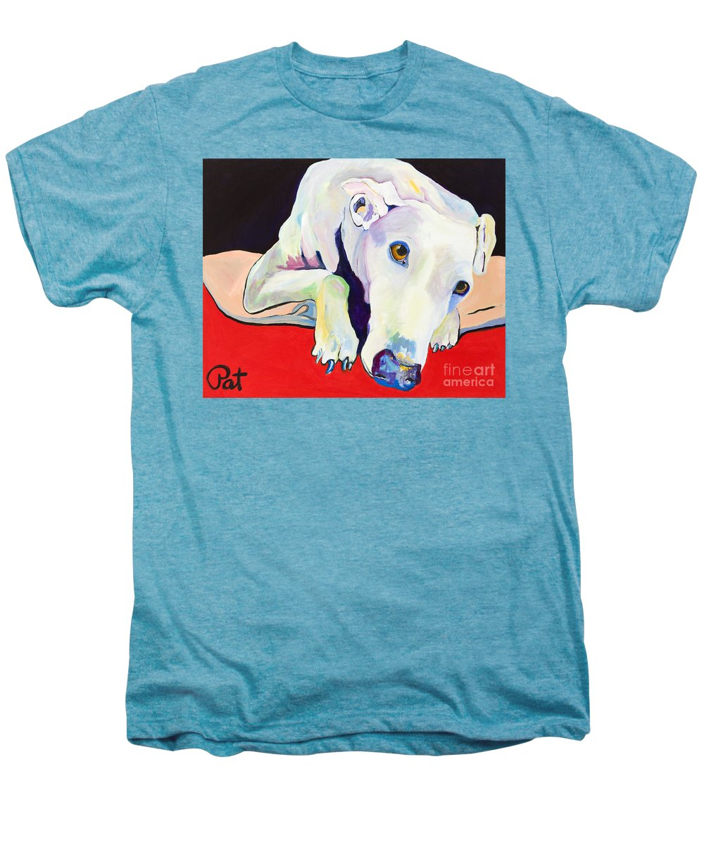 Animals Pets Greyhound Men's Premium T-Shirt featuring the painting Cyrus by Pat Saunders-White