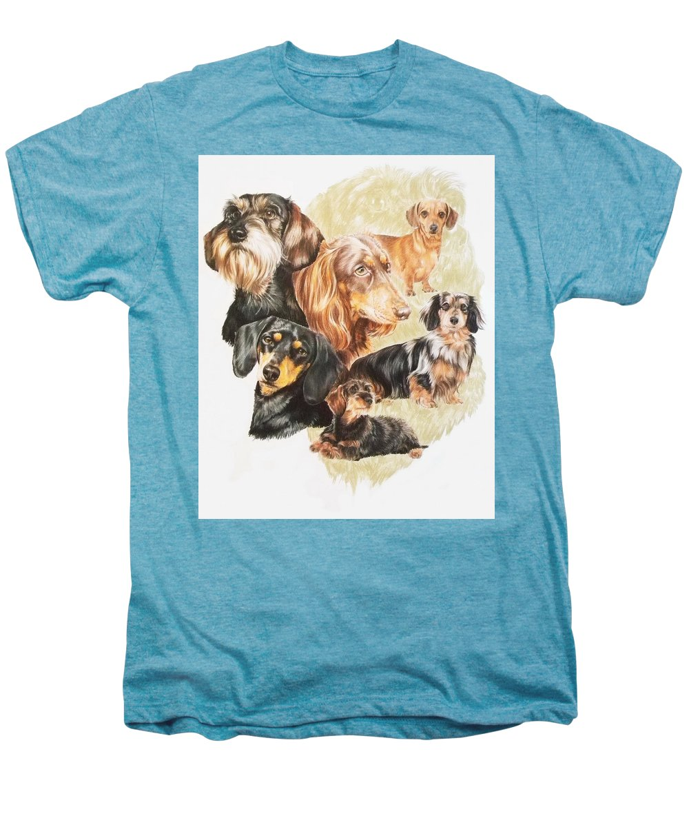 Purebred Dog Men's Premium T-Shirt featuring the drawing Dachshund W/ghost by Barbara Keith