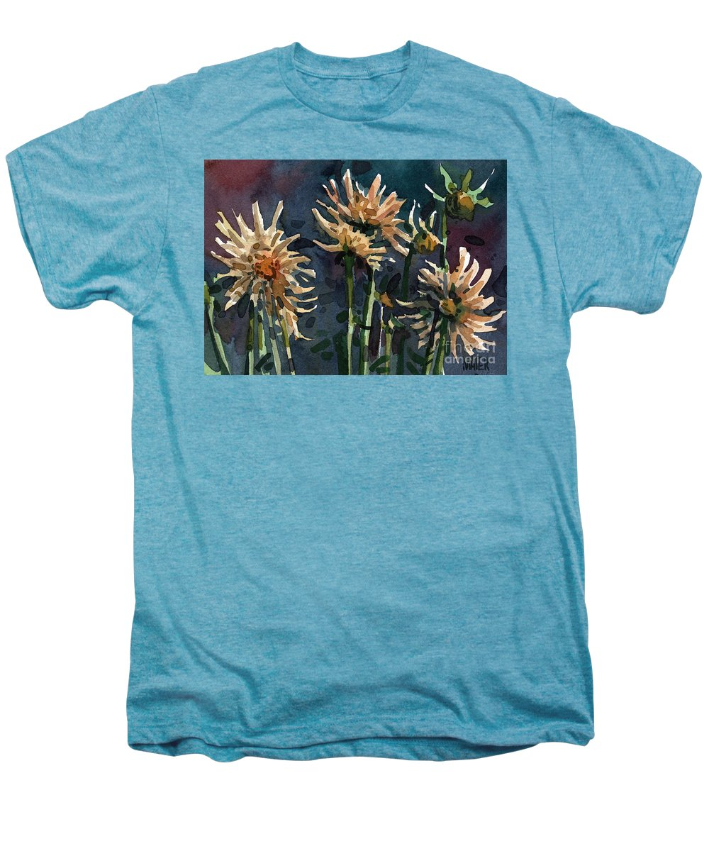 Floral Men's Premium T-Shirt featuring the painting Dahlias by Donald Maier