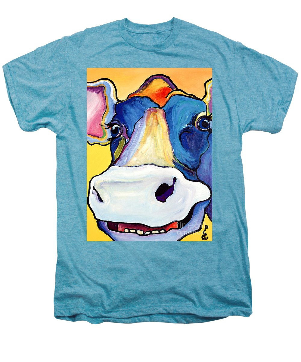 Cow Print Men's Premium T-Shirt featuring the painting Dairy Queen I  by Pat Saunders-White