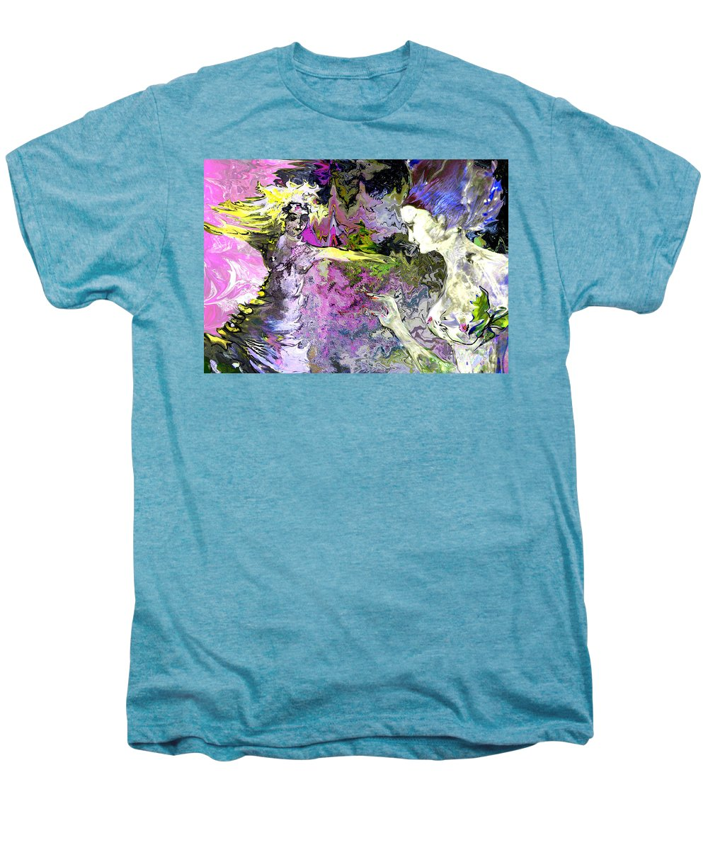 Miki Men's Premium T-Shirt featuring the painting Dance In Violet by Miki De Goodaboom