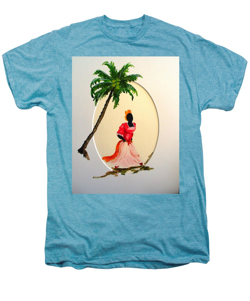 Caribbean Dancer Men's Premium T-Shirt featuring the painting Dancer 1 by Karin Dawn Kelshall- Best