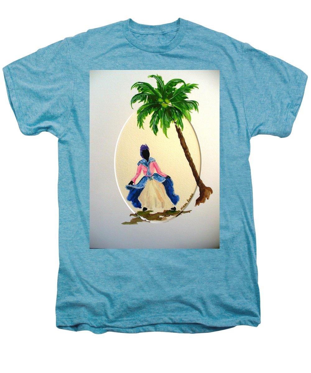 Dancer Caribbean Men's Premium T-Shirt featuring the painting Dancer 2 by Karin Dawn Kelshall- Best