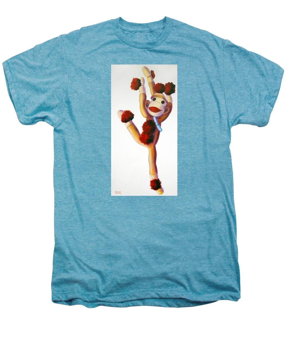 Dancer Men's Premium T-Shirt featuring the painting Dancer Made Of Sockies by Shannon Grissom