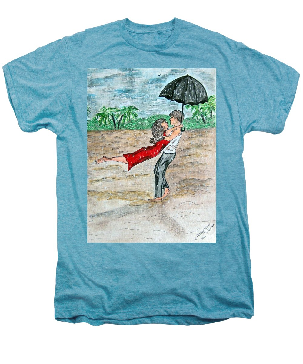 Dancing Men's Premium T-Shirt featuring the painting Dancing In The Rain On The Beach by Kathy Marrs Chandler