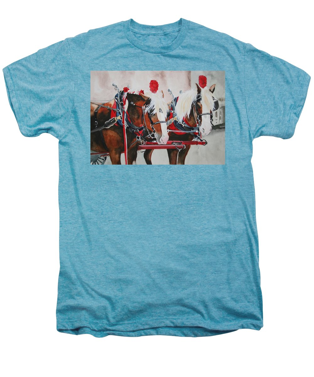Horse Men's Premium T-Shirt featuring the painting Dandy Duo by Jean Blackmer