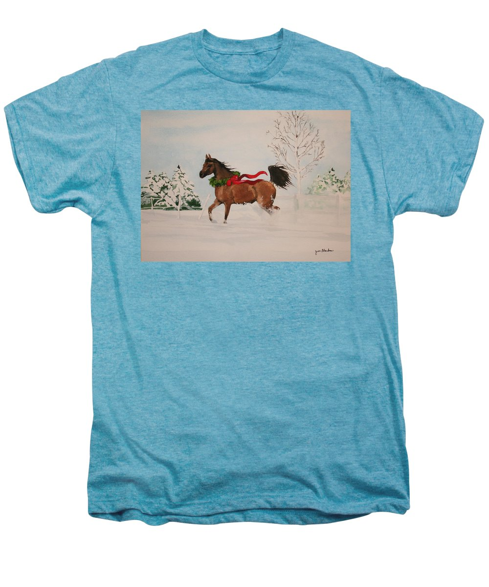 Horse Men's Premium T-Shirt featuring the painting Dashing Thru The Snow by Jean Blackmer