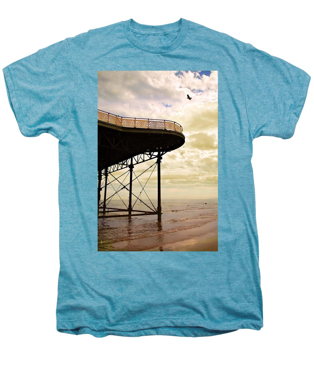 Victoria Men's Premium T-Shirt featuring the photograph Dawn At Colwyn Bay Victoria Pier Conwy North Wales Uk by Mal Bray