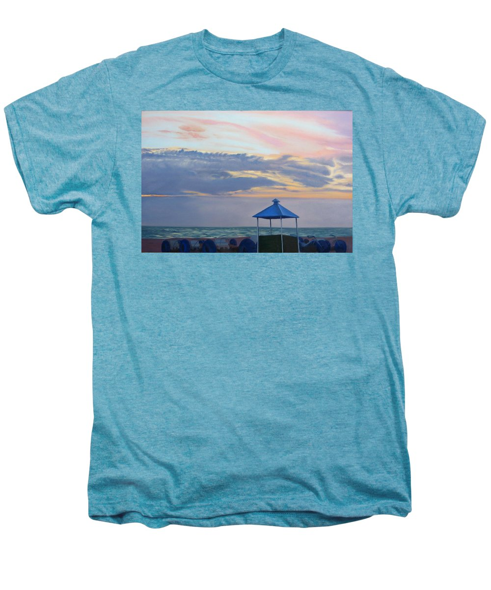 Sunset Men's Premium T-Shirt featuring the painting Day Is Done by Lea Novak