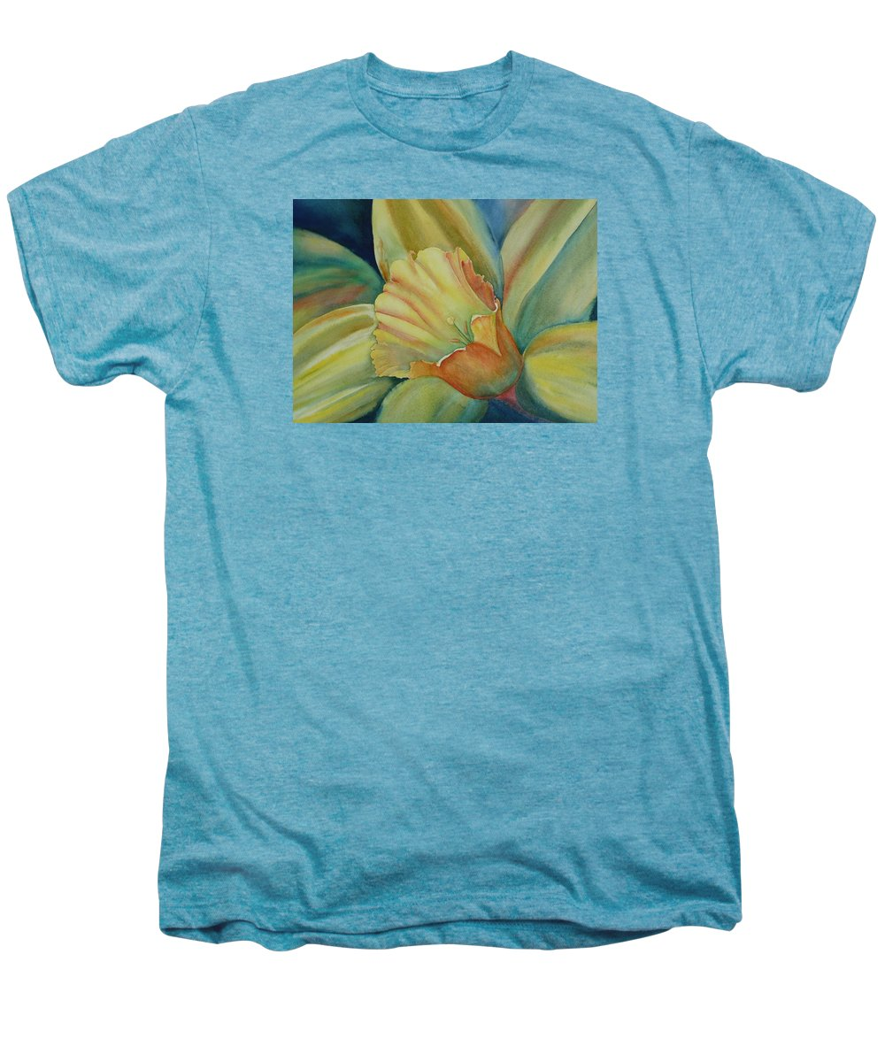 Flower Men's Premium T-Shirt featuring the painting Dazzling Daffodil by Ruth Kamenev