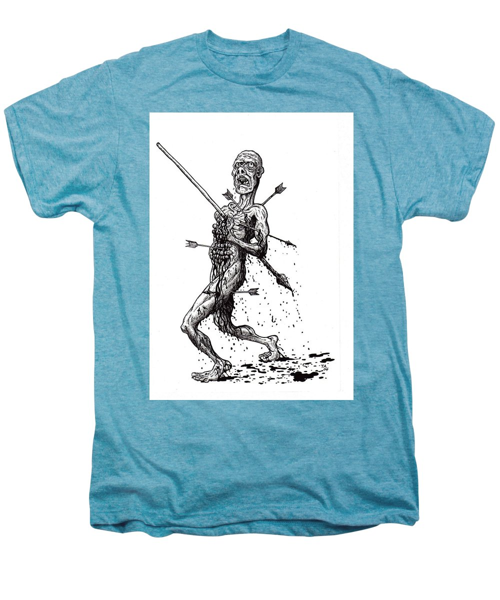 Dark Men's Premium T-Shirt featuring the drawing Death March by Tobey Anderson