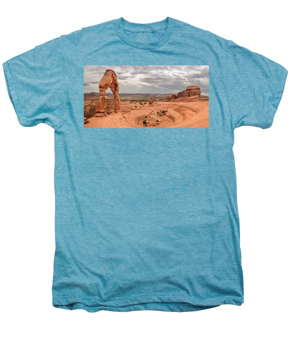 3scape Men's Premium T-Shirt featuring the photograph Delicate Arch Panoramic by Adam Romanowicz