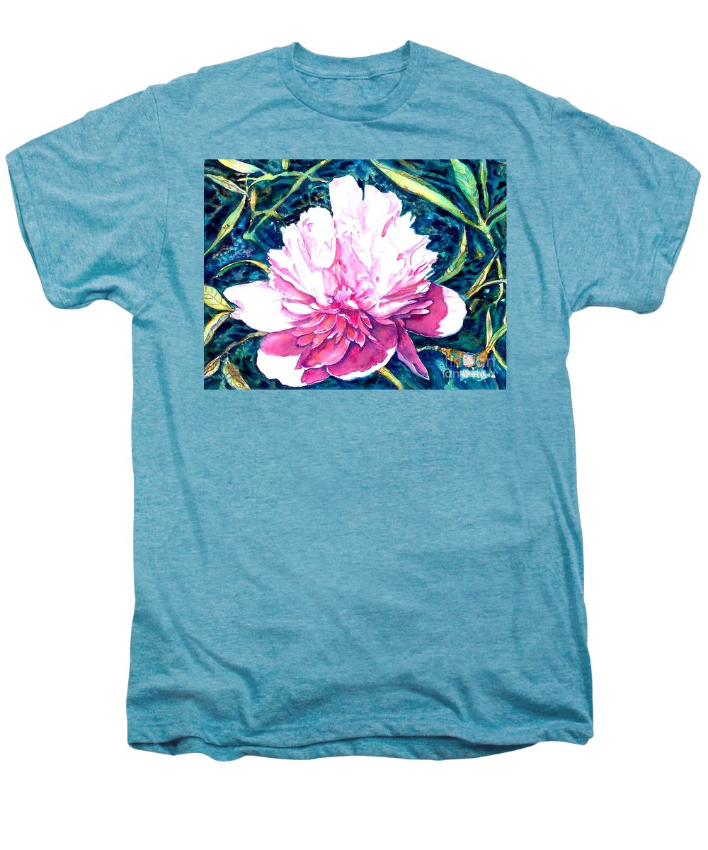 Peony Men's Premium T-Shirt featuring the painting Delightful Peony by Norma Boeckler
