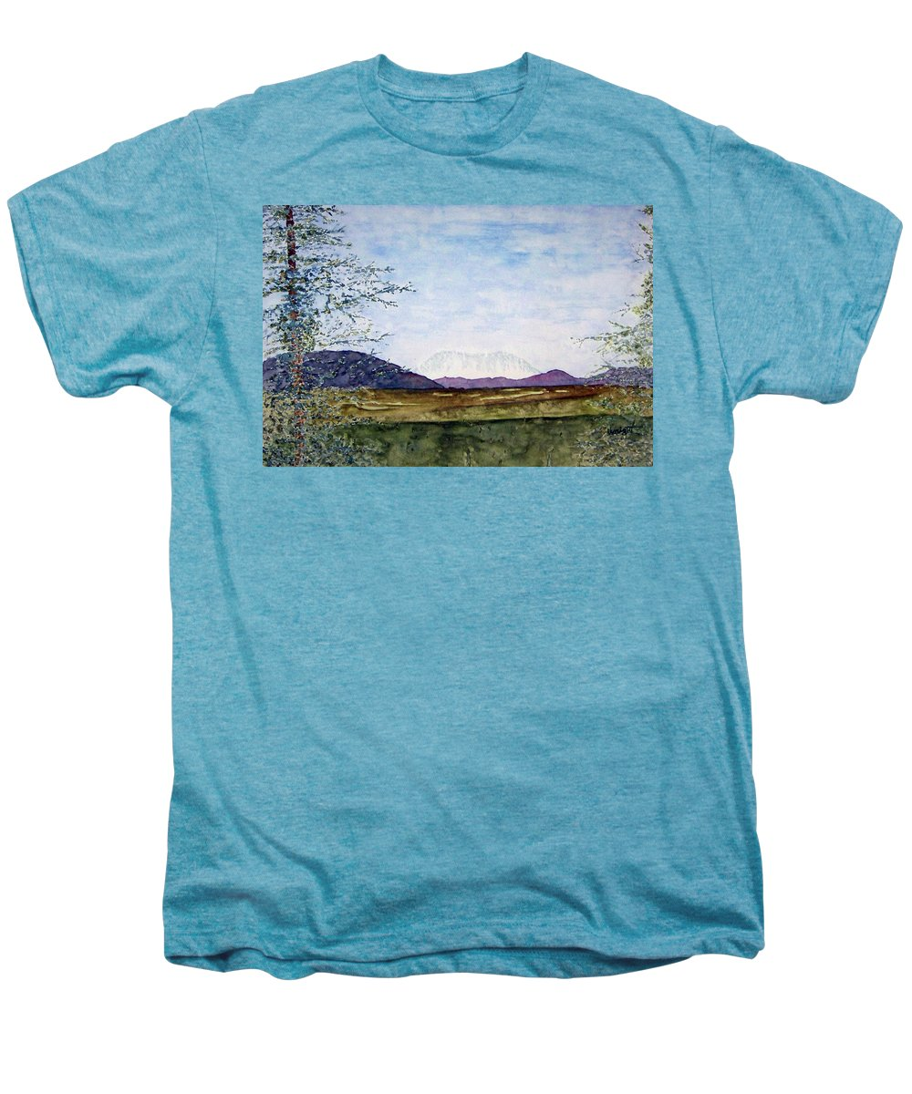 Alaska Art Men's Premium T-Shirt featuring the painting Denali In July by Larry Wright