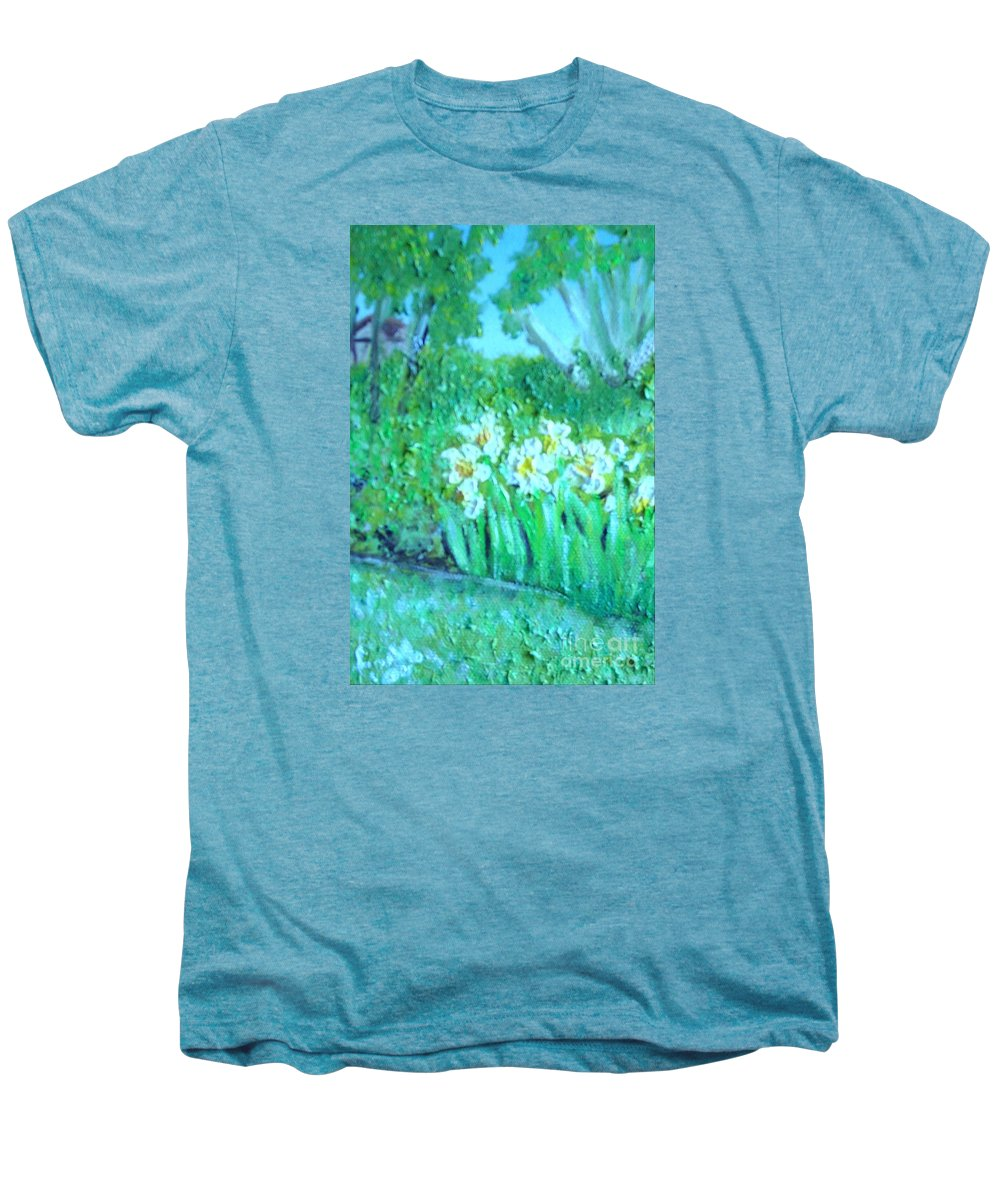 Daffodils Men's Premium T-Shirt featuring the painting Dependable Daffodils by Laurie Morgan