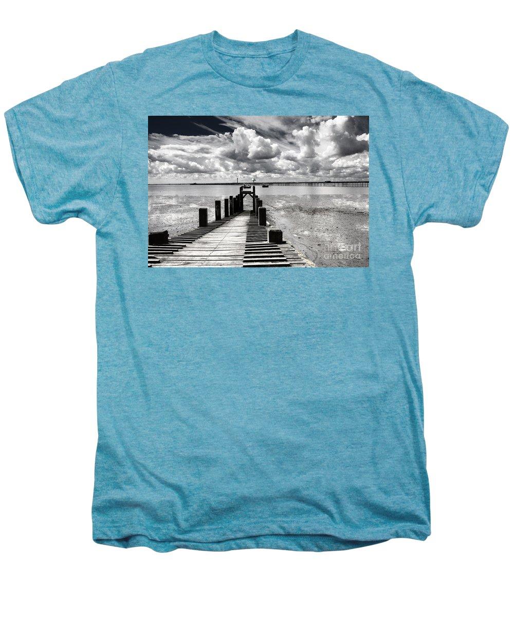 Wharf Southend Essex England Beach Sky Men's Premium T-Shirt featuring the photograph Derelict Wharf by Sheila Smart Fine Art Photography