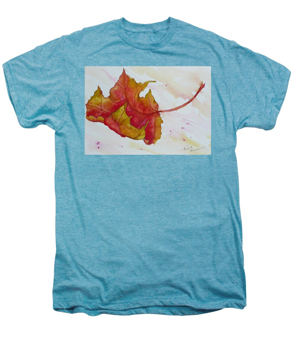 Fall Men's Premium T-Shirt featuring the painting Descending by Ruth Kamenev