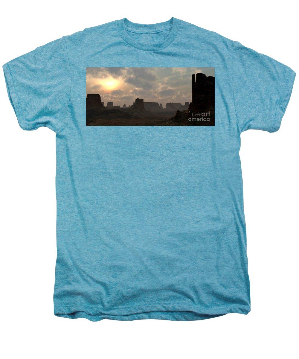 Desert Men's Premium T-Shirt featuring the digital art Desert Morning by Richard Rizzo