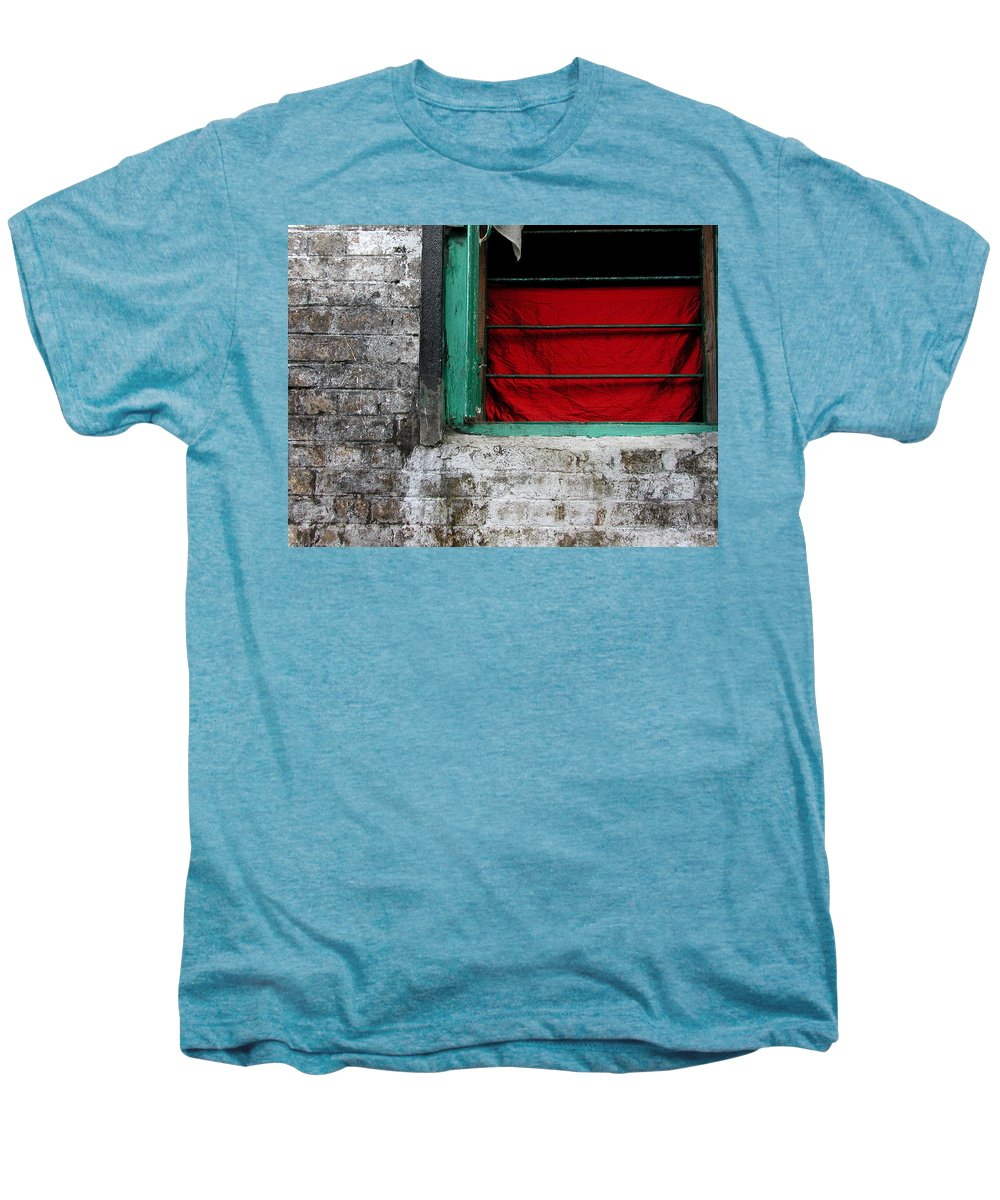 Red Men's Premium T-Shirt featuring the photograph Dharamsala Window by Skip Hunt
