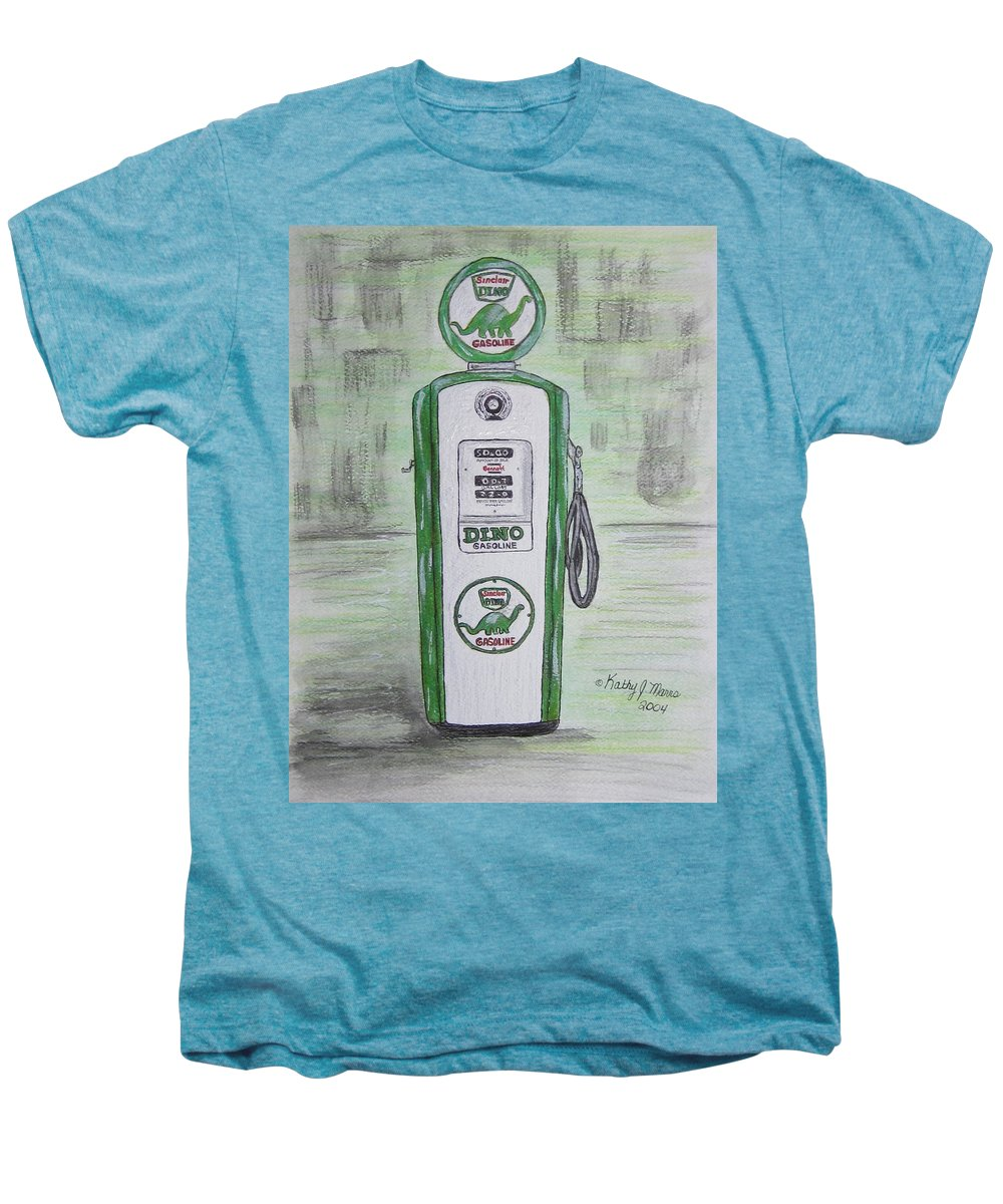 Dino Men's Premium T-Shirt featuring the painting Dino Sinclair Gas Pump by Kathy Marrs Chandler