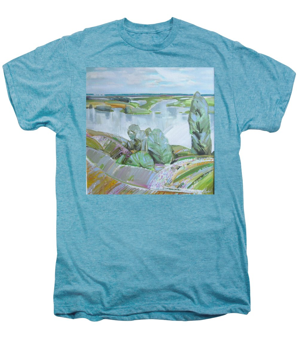 Landscape Men's Premium T-Shirt featuring the painting Dnepro River by Sergey Ignatenko