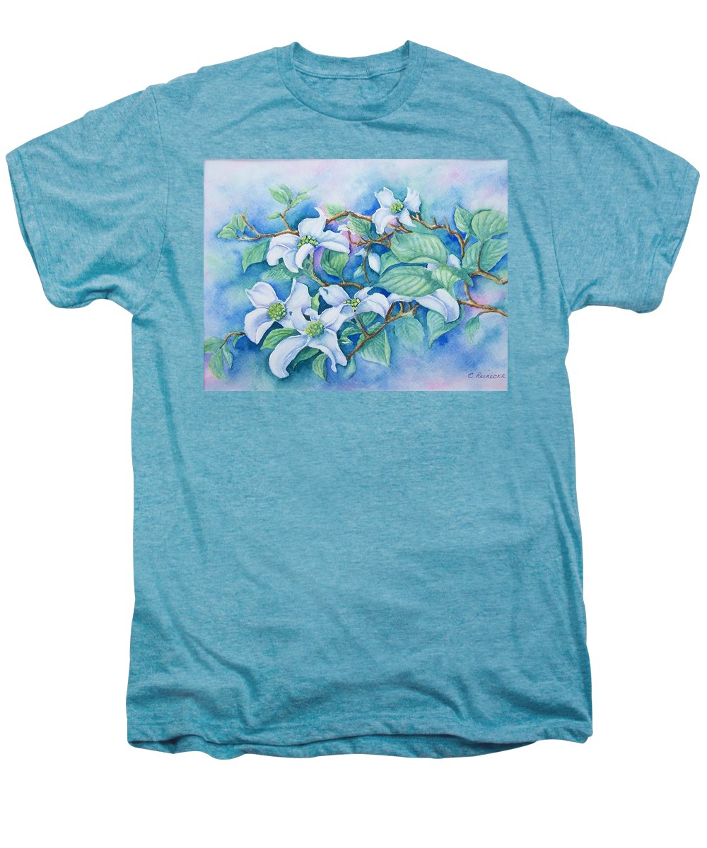 Floral Men's Premium T-Shirt featuring the painting Dogwood by Conni Reinecke