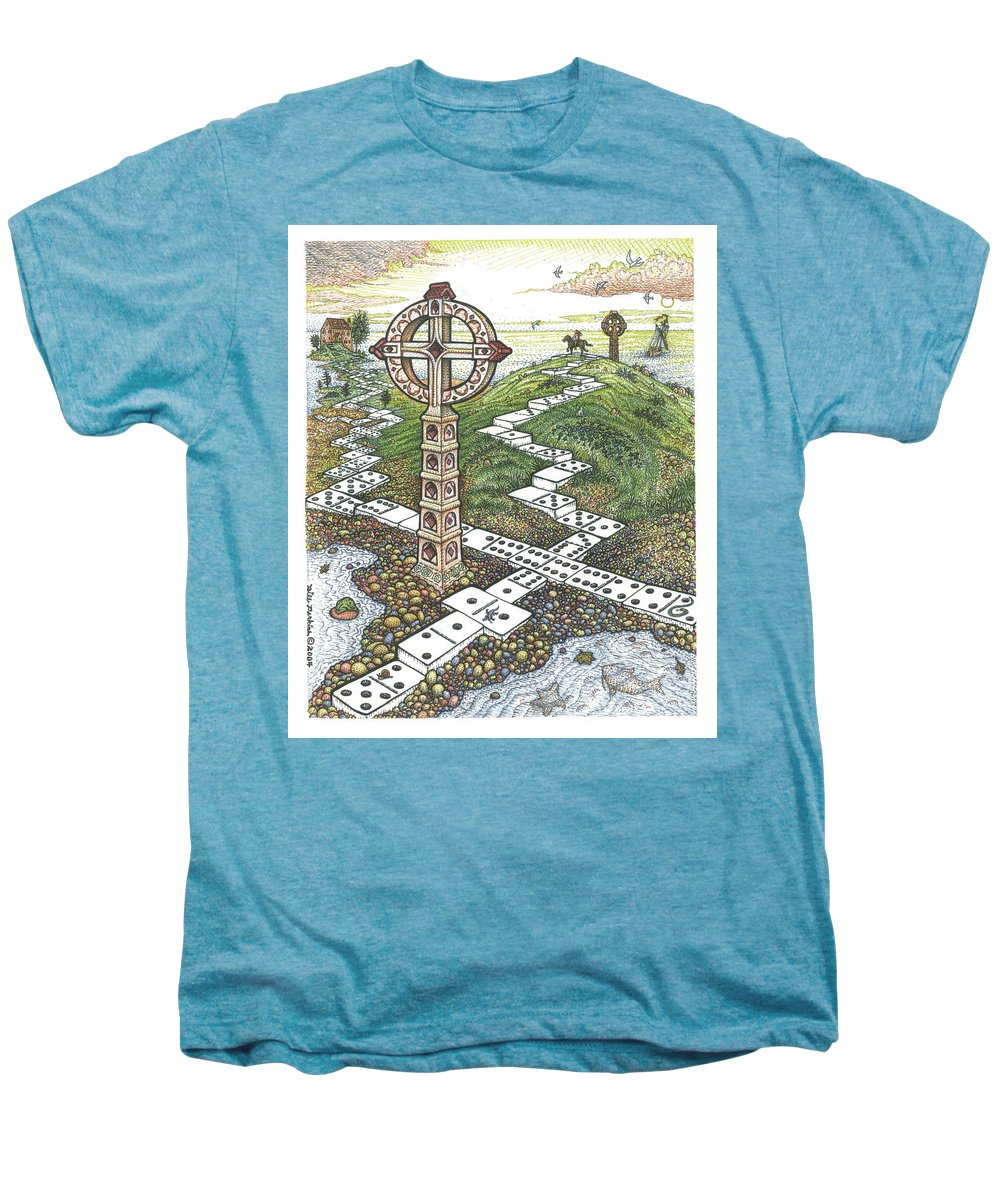 Landscape Men's Premium T-Shirt featuring the drawing Domino Crosses by Bill Perkins