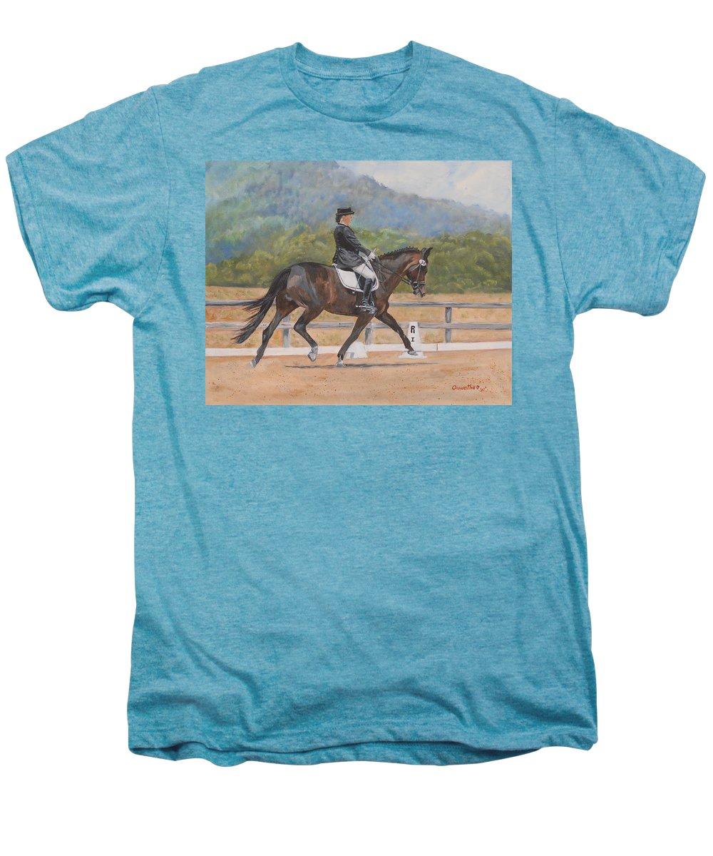 Horse Men's Premium T-Shirt featuring the painting Donnerlittchen by Quwatha Valentine