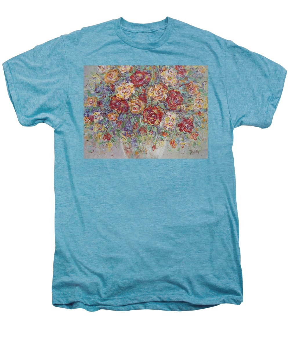 Flowers Men's Premium T-Shirt featuring the painting Double Delight. by Natalie Holland