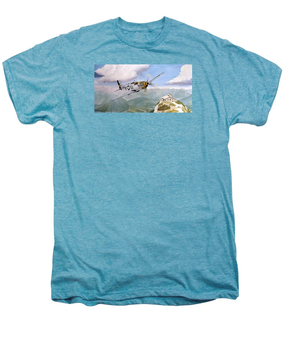 Military Men's Premium T-Shirt featuring the painting Double Trouble Over The Eagle by Marc Stewart