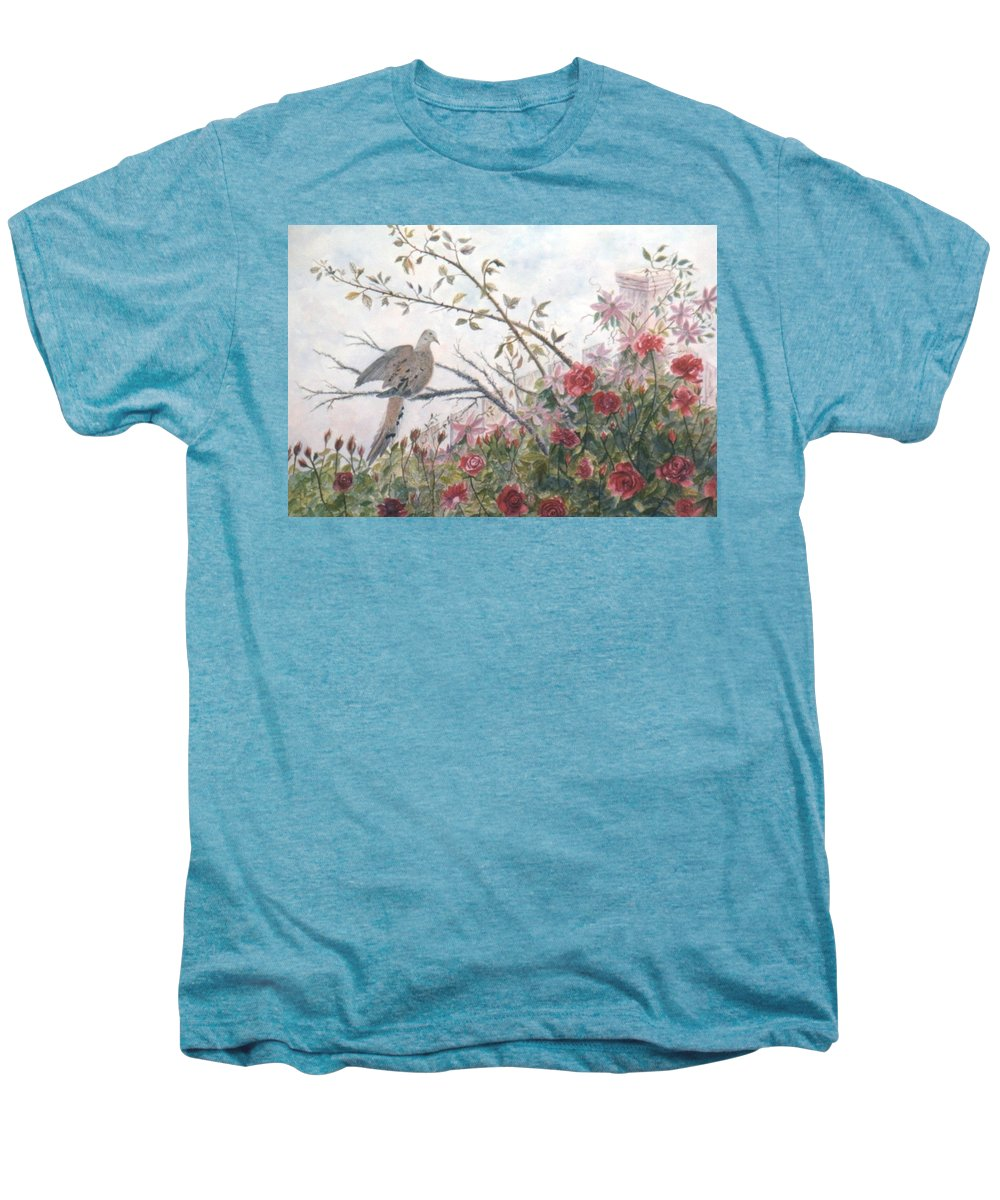 Dove; Roses Men's Premium T-Shirt featuring the painting Dove And Roses by Ben Kiger
