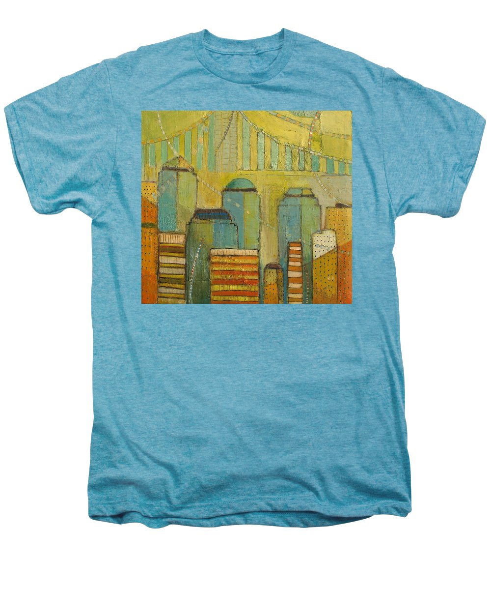 Men's Premium T-Shirt featuring the painting Downtown Manhattan by Habib Ayat