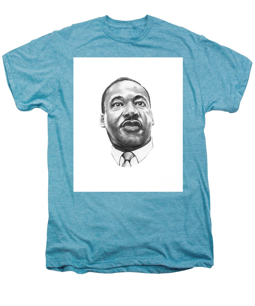 Portrait Men's Premium T-Shirt featuring the drawing Dr. Martin Luther King by Murphy Elliott