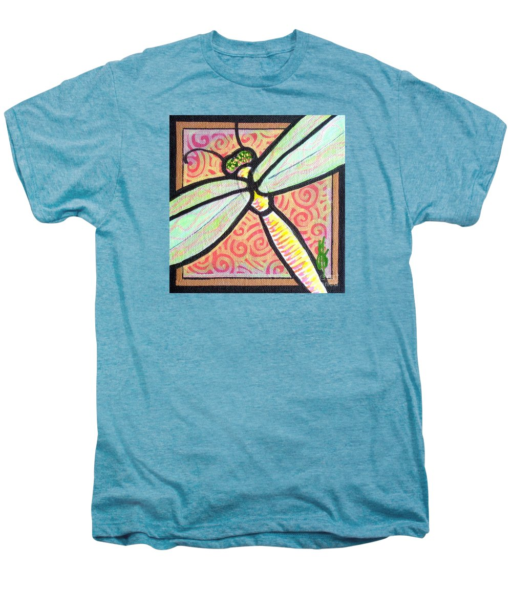Dragonfly Men's Premium T-Shirt featuring the painting Dragonfly Fantasy 3 by Jim Harris