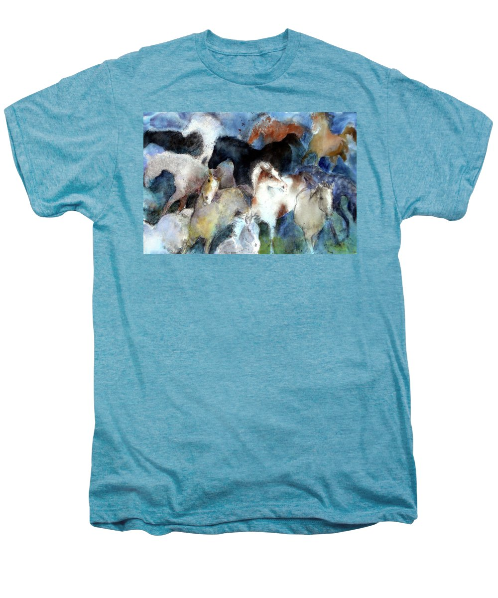 Horses Men's Premium T-Shirt featuring the painting Dream Of Wild Horses by Christie Michelsen