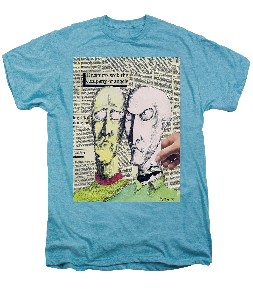 Dreamers Angels Faces Men's Premium T-Shirt featuring the mixed media Dreamers by Veronica Jackson